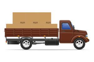 Carga camión entrega y transporte bienes concepto vector illustration