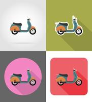 retro scooter plat pictogrammen vector illustratie