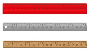 rulers made ??of plastic wooden and metal vector illustration