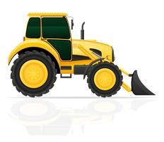 tractor with bucket front seats vector illustration