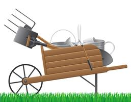 wooden old retro garden wheelbarrow with tool vector illustration