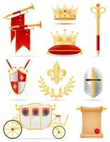 king royal golden attributes of medieval power vector illustration