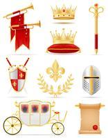 Rey real atributos de oro de la ilustración de vector de poder medieval