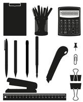 stationery set icons black silhouette vector illustration