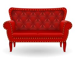red sofa furniture vector illustration