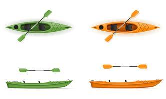 caiaque de plástico para ilustração vetorial de pesca e turismo