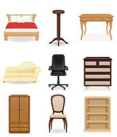 conjunto de iconos muebles vector illustration