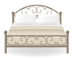 cama doble muebles vector illustration