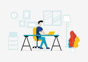 Office Workplace in Flat Style vector