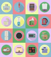 household appliances for kitchen flat icons vector illustration