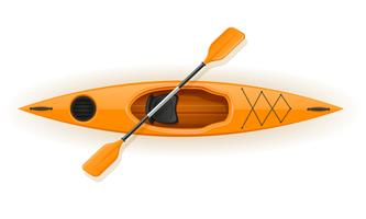 plastic kayak for fishing and tourism vector illustration