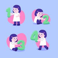 Children Character Set Holding Numbers vector
