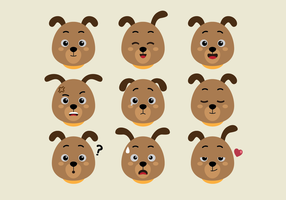 Dog Faces Expression Set vector