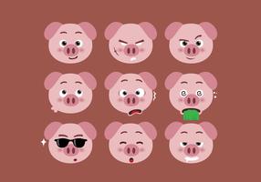 Conjunto de expresión de caras de cerdo vector