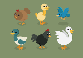 Birds On Poultry Set vector