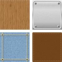 Set textura madera metal jeans cuero para diseño vector