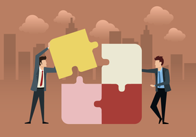 Business Team With Puzzle vector