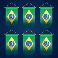 Brasilien Ribbon Flagga Vector Mall Design