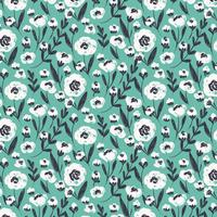 Vector Blue Seamless Floral Pattern