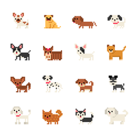 Pixel Art Dog Character Vector Icons
