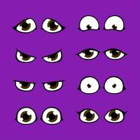 Conjunto de iconos de Chibi personaje de dibujos animados ojos