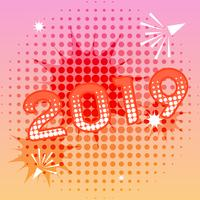 2019 new year banner with comic text effects