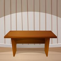 Cartoon room. Wooden table. vector illustration