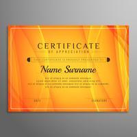 Resumen brillante ondulado diseño de plantilla de certificado