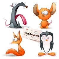 Rat, mouse, fox, penguin - set animals