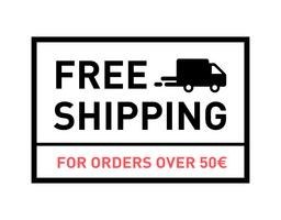 Free shipping. For orders over 50€. Badge with truck icon. vector