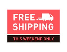 Free shipping. This weekend only. Badge with truck icon.