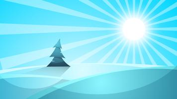 Cartoon snow landscape. Sun, snow, fir illustration. Vector eps