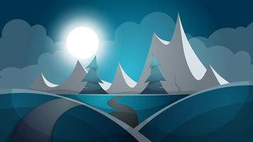 Travel night cartoon landscape. Tree, mountain, comet, star, moo