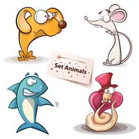 Dog, mouse, shark, snake - set animals