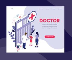 Isometric Artwork Concept of Online Doctor vector
