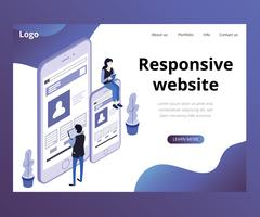 Isometric Artwork Concept of Responsive Website
