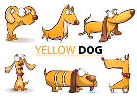 Set yellow dog 2018 cartoon illustration.
