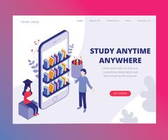 Isometric Artwork Concept of Study Anytime Anywhere