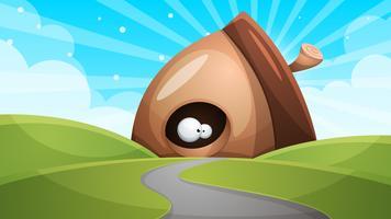Cartone animato divertente, carino noci con occhio - illustrazione.