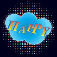 Happy banner with comic text effects vector