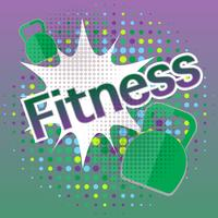 Fitness banner with comic text effects vector