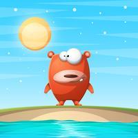 Bear on the beach. Cartoon illustration.