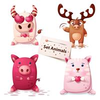 Cow, deer, pig, cat -set animals. vector