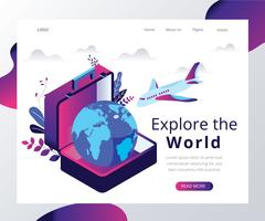 Explore the World Isometric Artwork
