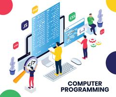 Programming Isometric Artwork Concept vector