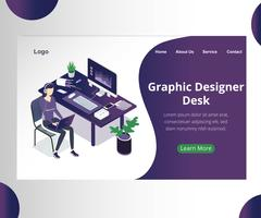 Graphic Designers Desk Isometric Artwork Concept