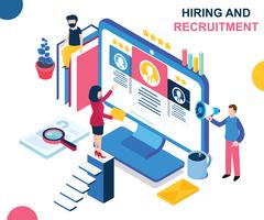 Hiring and Recruiting's Isometric Artwork Concept