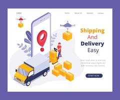 Online Delivery System Isometric Artwork Concept vector