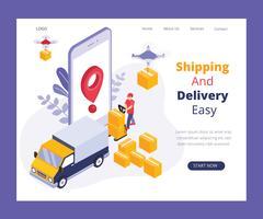 Concepto isométrico en línea de las ilustraciones del sistema de entrega