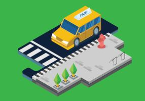 Public Transportation on the Steet City Isometric Vector